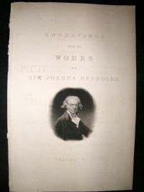 After Joshua Reynolds C1830 Folio Mezzotint. Title Page, Self Portrait